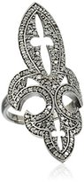 Azaara Sterling Silver Fleur de Lis Pave Champagne Diamond Ring (1 1/4cttw, I2-I3 Clarity), Size 7