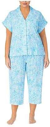 Lauren Ralph Lauren Plus Size Classic Knits Dolman Sleeve Notch Collar Capri Pants Pajama Set (Blue Print) Women's Pajama Sets
