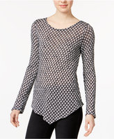 Bar III Printed Asymmetrical Top, Only at Macy's