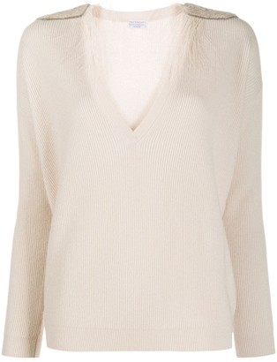 Brunello Cucinelli V-Neck Fine Knit Sweater With Feather Shoulder Detail
