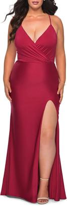 La Femme Plus Size Cross-Back Jersey Gown w/ Thigh-Slit