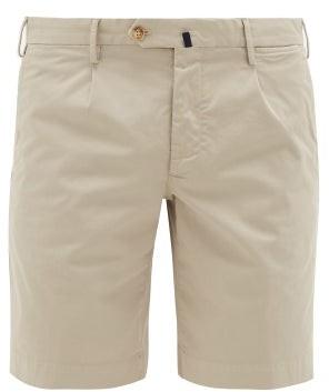 Incotex Garment-dyed Stretch-cotton Shorts - Mens - Light Grey