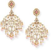 Jose & Maria Barrera Pearly Filigree Chandelier Earrings
