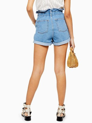 Topshop Paperbag Denim Shorts - Mid Denim