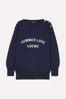 Loewe Embroidered Wool-blend Sweater - Navy