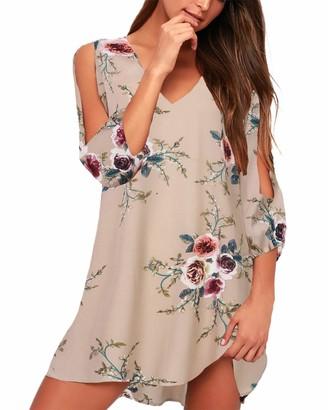 SUNNYME Womens Floral Print Short Sleeve Mini Tunic Dress Casual Summer T-Shirt Dress Beach Party Dress Y-White S