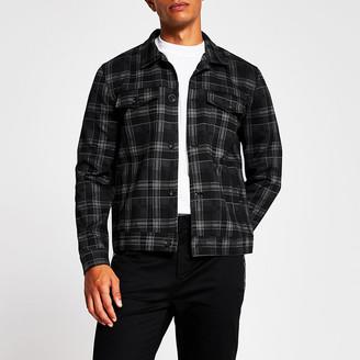 River Island Grey check western skinny fit jacket
