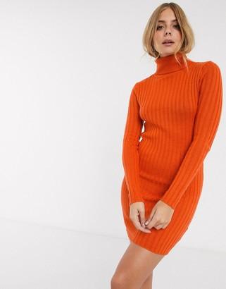 Brave Soul amanda ribbed roll neck jumper dress in orange