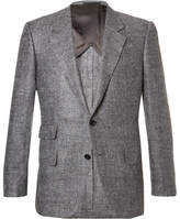 Kingsman - Eggsy's Grey Donegal Silk And Linen-blend Herringbone Blazer - Gray
