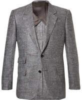 Kingsman Eggsy's Grey Donegal Silk And Linen-blend Herringbone Blazer