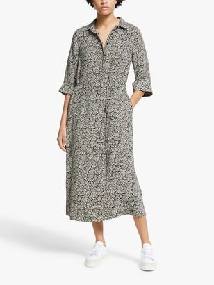 John Lewis & Partners Floral Print Shirt Dress, Black/White