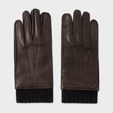 Paul Smith Men's Brown Deerskin Silk-Cashmere Lined Gloves