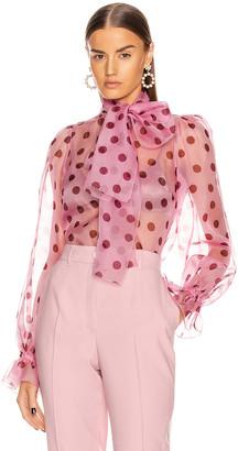 Dolce & Gabbana Polka Dot Tie Blouse in Rosa   FWRD