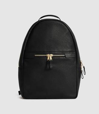 Reiss HUNTINGTON TEXTURED LEATHER BACKPACK Black