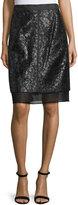 J. Mendel Lace Overlay Pencil Skirt, Noir