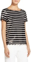 St. John Embroidered Paillette Stripe Top