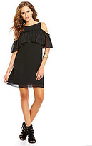 Gianni Bini Mia Crew Neck Cold Shoulder Ruffled Solid Dress