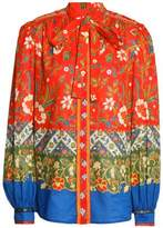 Tory Burch Pussy-Bow Printed Cotton Blouse