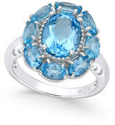 Macy's Swiss Blue Topaz Flower Ring (5 ct. t.w.) in Sterling Silver
