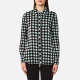 Diane von Furstenberg Women's Collared Shirt Abel Check Ivory/Peony