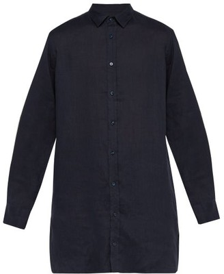 Tobias Arjé Arje - The Longline Linen Shirt - Mens - Blue