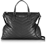 Armani Jeans Black Quilted Eco Leather Zip Top Tote Bag