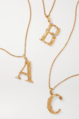 Oscar de la Renta Letter Gold-plated Crystal Necklace