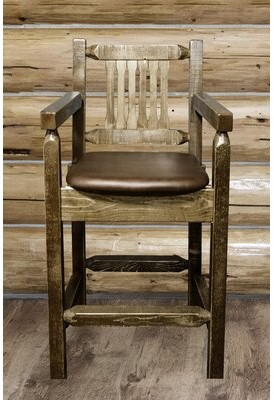 """Abella 24"""" Counter Stool Loon Peak Upholstery: Saddle, Finish: Stain and Lacquer"""