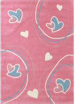 Curious Owl Pink Hearts Kid's Rug