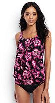 Classic Women's DDD-Cup Blouson Tankini Top-Black Twilight Floral