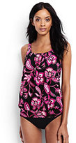Classic Women's Mastectomy Blouson Tankini Top-Black Twilight Floral