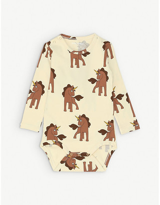 Mini Rodini Unicorn-print long-sleeved organic stretch-cotton bodysuit 1-18 months