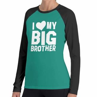 Lalaq I Love My Big Brother Women's Raglan Soft Color Block Baseball Long Sleeve Pullover Tunic Top T-Shirts Classic Blouses Top Tee Black