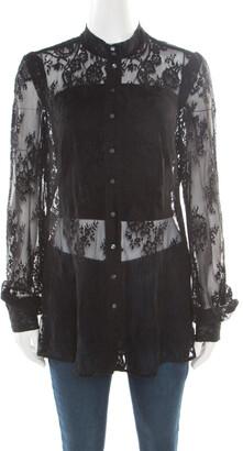 McQ Black Floral Lace Long Sleeve Blouse L