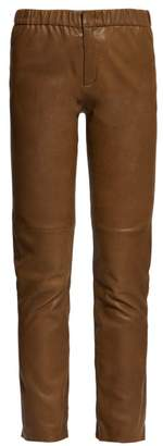 Etoile Isabel Marant Iany Leather Slim-fit Trousers - Womens - Khaki