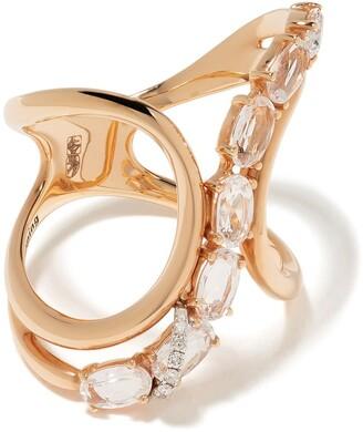 Brumani 18kt rose gold Looping Shine diamond and quartz ring