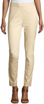 Neiman Marcus Bi-Stretch Pull-on Ankle Pants, Beach Wood