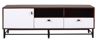 Art Leon Art-Leon TV Media Stand with Metal Legs, Leather Buckles and Storage Space