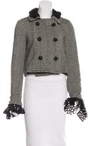 Anna Sui Crochet-Trimmed Chevron-Patterned Jacket