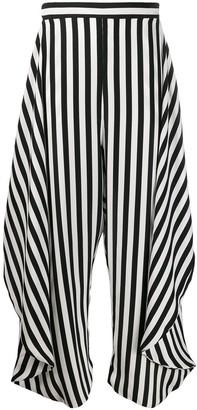 Stella McCartney Alicia draped-panel striped trousers