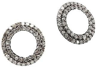 Nina Gilin 14K Black Rhodium Silver, Champagne Diamond & Enamel Stud Earrings