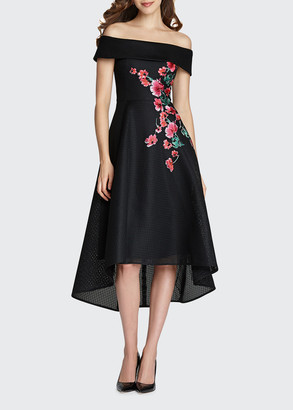 Rickie Freeman For Teri Jon Off-the-Shoulder High-Low Neoprene Dress w/ Floral Applique