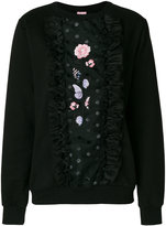 Giamba embroidered sheer panel sweatshirt