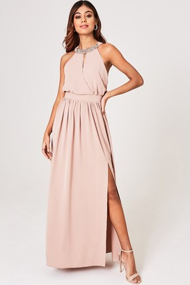 Little Mistress Tabitha Mink Hand-Embellished Halter Maxi Dress