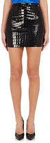Saint Laurent Women's Crocodile-Appliqué Miniskirt-BLACK