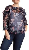 London Times Ruffled Cold Shoulder Top (Plus Size)