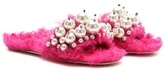 Miu Miu Embellished Faux Fur Slippers