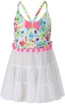 Pate De Sable White Floral Print Beach Dress