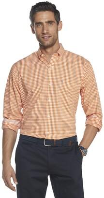 Izod Men's Big & Tall Fit Button Down Long Sleeve Stretch Performance Gingham Shirt