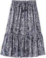 Joe Fresh Women's Paisley Drawstring Skirt, Dark Navy (Size M)